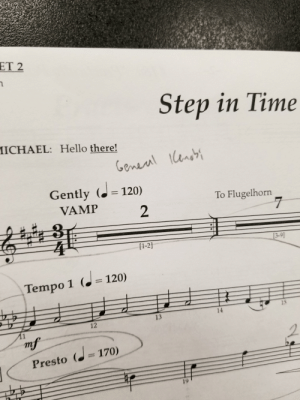 Hello, Time, and Step: ET 2  Step in Time  ICHAEL: Hello there!  Goman  Gently (. 120)  To Flugelhorn  VAMP  3-9  [1-2]  Tempo 1 (120)  14  13  12  esto ( 170)  19 hello there but in musical form