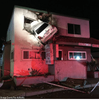 Andrew Bogut, Fire, and Memes: et  569-110  Orange County Fire Authority A vehicle crashed into the second floor of a small office building after the car hit the center divider and went airborne. Two people were in the car at the time and have minor injuries.