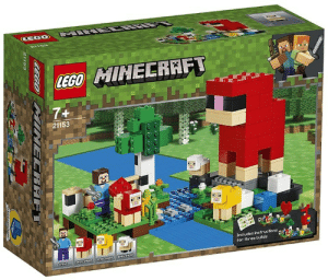 Lego, Minecraft, and Sheep: ET  CEGO  LEGO MINECRAFT  7+  21153  Includes instructions  for three bulds  CAYSHEE  CEDPE  CECO PAIREC RAFT  21153 Lego made a memorial for woter sheep