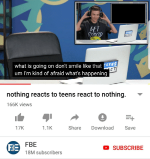 When you run out of content: ET  TEENS  REACT  what is going on don't smile like thatE  um I'm kind of afraid what's happening  EENS  C T  nothing reacts to teens react to nothing.  166K views  17K  1.1K  Share Download Save  FBE  18M subscribers  D SUBSCRIBE When you run out of content