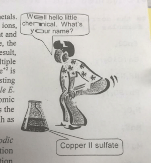 Hello, Sting, and Copper: etals. Well hello little  ions, chernical. What's  ypur name?  , the  esult  tiple  e is  sting  le E.  mic  the  h as  odic  Copper Il sulfate  tion What's Y( )UR name?