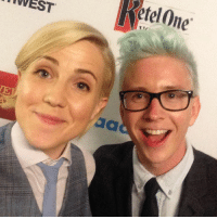 Dank, Google, and Selfie: etel One  etelOne.  rvVEST.  aa Tyler Oakley and Hannah Hart sneak a selfie before presenting the GLAAD Rick Weiland Award to YouTube & Google. #glaadgala