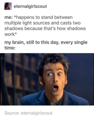 The Shadows of Intrigue: eternalgirlscout  me: *happens to stand between  multiple light sources and casts two  shadows because that's how shadows  work*  my brain, still to this day, every single  time:  Source: eternalgirlscout The Shadows of Intrigue