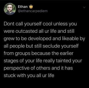 meirl: Ethan 9  @ethancarpediem  Dont call yourself cool unless you  were outcasted all ur life and stil  grew to be developed and likeable by  all people but still seclude yourself  from groups because the earlier  stages of your life really tainted your  perspective of others and it has  stuck with you all ur life meirl