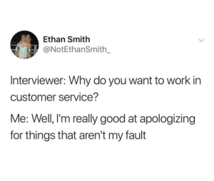 Dank, Memes, and Target: Ethan Smith  ONotEthanSmith_  Interviewer: Why do you want to work in  customer service?  Me: Well, l'm really good at apologizing  for things that aren't my fault me irl by Easygrowing FOLLOW HERE 4 MORE MEMES.