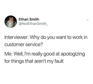 I'm sorry: Ethan Smith  ONotEthanSmith_  Interviewer: Why do you want to work in  customer service?  Me: Well, l'm really good at apologizing  for things that aren't my fault I'm sorry