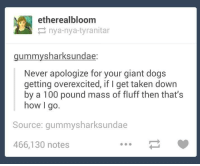 Ethered: ether ealbloom  nya-nya-tyranitar  gummy shark sundae  Never apologize for your giant dogs  getting overexcited, if l get taken down  by a 100 pound mass of fluff then that's  how I  go.  Source: gummysharksundae  466,130 notes