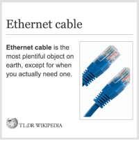💻Ethernet cable.: Ethernet cable  Ethernet cable is the  most plentiful object on  earth, except for when  you actually need one.  TL,DR WIKIPEDIA 💻Ethernet cable.