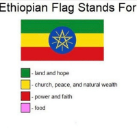 Church, Food, and Memes: Ethiopian Flag Stands For  land and hope  church, peace, and natural wealth  power and faith  - food i like these shits 😭