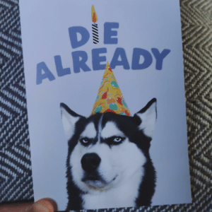 Birthday, Cute, and Funny: eti  6ne  DIE  ALREADY  SAMG  pddy  h  w  t  ehd4  wl  ANe My 4 year old niece can't read and bought me this birthday card because it featured 'a cute dog with a party hat' (from /r/funny ,original post in comments)