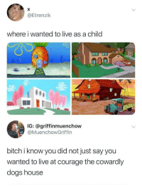 Bitch, Dogs, and House: @Etrenzilk  where i wanted to live as a child  IG: @griffinmuenchow  @MuenchowGriffin  bitch i know you did not just say you  wanted to live at courage the cowardly  dogs house Nightmares.