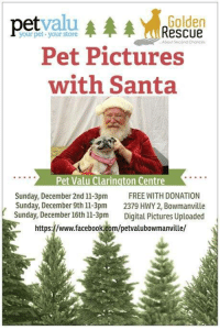 Anaconda, Facebook, and Memes: etvalu  Golden  Rescue  your pet. your store  Pet Pictures  with Santa  Pet Valu Clarington Centre  Sunday, December 2nd 11-3pm FREE WITH DONATION  Sunday, December 16th 11-3pm Digital Pictures Uploaded  https://www.facebook com/petvalubowmanville/  ,Sunday, December 9th 1-3pm 2379 HWY 2, Bowmanville HO HO HO! Santa's coming to Pet Valu Bowmanville Clarington Centre! Stop by and to get your Holiday Pet Pic with Santa  TOMORROW and December 16th from 11am-3pm. Pictures will be FREE WITH DONATION, with 100% of all money raised going to Golden Rescue!