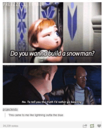 Do You Wanna Build a Snowman, Memes, and Blue: ETZZE  Do you wanna build a snowman?  No. To tell you the truth I'd rather go bowling  projectendo  This came to me like lightning outta the blue  24,339 notes