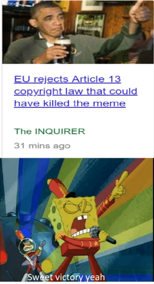 copyright law: EU rejects Article 13  copyright law that could  have killed the meme  The INQUIRER  31 mins ago  Sweet victory yeah