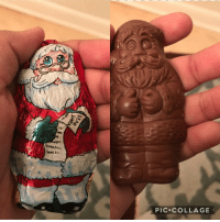 Chocolate, Collage, and Santa: eul  PIC.COLLAGE <p>Expectations VS Reality - Chocolate Santa almost looks better than the Package</p>