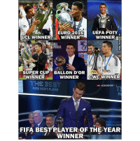 Love him or hate him, he deserves it.. 🙌 🔺LINK IN OUR BIO!! 😎🔥: EURO 2016  UEFA POTY  UCL WINNER  WINNER  WINNER  ares  E!FA  SUPER CUP BALLON D'OR  WINNER  CWC WINNER  WINNER  EUROSPORT 1  FIFA MEN'S PLAYER  FIFA BEST PLAYER OF THE YEAR  WINNER Love him or hate him, he deserves it.. 🙌 🔺LINK IN OUR BIO!! 😎🔥
