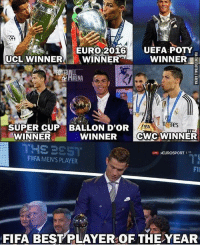 Cr7 what a year🔥👌🏽: EURO 2016  UEFA POTY  UCL WINNER  WINNER  WINNER  dre  ales  SUPER CUP BALLON D'OR  IFA  WINNER  CWC, WINNER  WINNER  THIS PSST  ILIVE EUROSPORT 1  HD  FIFA MEN'S PLAYER  FI  FIFA BEST PLAYER OF THE YEAR Cr7 what a year🔥👌🏽