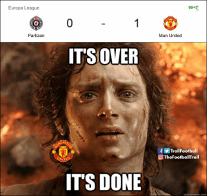 Man Utd have finally won an away game https://t.co/oJKBiMDVuK: Europa League  0 1  90+3'  PAD  Partizan  MANCH  UNITED  Man United  IT'SOVER  ANCHESTE  MA  UNITED  |TrollFootball  TheFootballTroll  IT'S DONE  quickmeme.com  AH Man Utd have finally won an away game https://t.co/oJKBiMDVuK