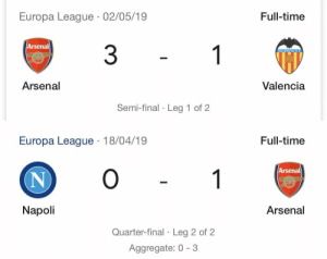 Beating Valencia and Napoli isn't for everyone 👀😂 https://t.co/S4PbN9XAaA: Europa League 02/05/19  Full-time  Arsenal  3  1  VALENCIA C.F  Valencia  Arsenal  Semi-final Leg 1 of 2   Europa League 18/04/19  Full-time  O  Arsenal  1  N  Napoli  Arsenal  Quarter-final Leg 2 of 2 Beating Valencia and Napoli isn't for everyone 👀😂 https://t.co/S4PbN9XAaA