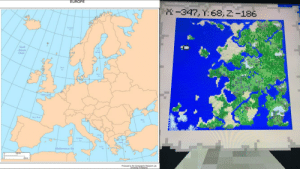 Minecraft, Sorry, and Xbox One: EUROPE  -347, Y:68, 2:-186  Bein  North  Atlantic  Ocean  itediterrunna Se  Produced by the Cartographic Research Lab- I finished my Minecraft map and realized it is close to looking like Europe besides some of the terrain and Italy, it's turned the wrong way. If you want the seed to this world it's 796246490. It's for Xbox One users. If it doesn't work I'm sorry.