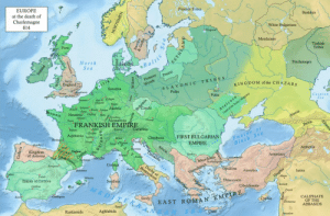 Click, Empire, and England: EUROPE  at the death of  Charlemagne  814  Finnish Tribes  Bashki  White Bulgarians  Morduines  Picts  Turkish  Tribes  North  Sea  Balt  Petcheneges  Pomore Pruzzi  England  KINGDOM of the CHAZARS  Saxonia  LAVONIC TRIBES  Poles  Poles  Caspiar  Sea  Au la  n Austria  a NeustriaChaioes  Alemannia  FRANKISH EMPIRE  iCarinthia  Autun.  Aquitaniaualoinet  ChrobatiaFIRST BULGARIAN  Euxine  EMPIRE  Black Se a  Eauze  Kingdom  of Asturias  Armeniacs  Mace  Co  ikion Anatolics  azira  or  e of Cordova  inia  Thracesians  彡.tnicry, EAST ROMA N'EMPER Ε  AN SEA  Sicil  CALIPHATE  OF THE  Damuscas ABBASIDs  Rustamids  Aghlabids land-of-maps:  Situation in Europe after the death of Emperor Charlemagne, 814 A.D. [1400 × 920]CLICK HERE FOR MORE MAPS!