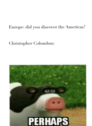 Discover, Europe, and Dank Memes: Europe: did you discover the Americas?  Christopher Columbus:  PERHAPS Native Americans aren't reaaaaal