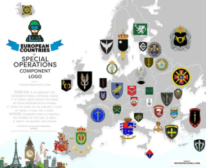 land-of-maps:  European Countries by special forces logo [8582 × 6999]: EUROPEAN  COUNTRIES  BY  SPECIAL  OPERATIONS  COMPONENT  LOGO  MORE A  HISTORYINANUTSHELL.COM  EMBLEM Is AN ABSTRACT OR  REPRESENTATIONAL PICTORIAL IMAGE  IT IS WIDELY USED AMONG MILITARIES  AS THEIR REPRESENTATIVE SYMBOL  IT TAKES THE FORM OF AN EMBLEM, A COAT  OF ARMS, A FLAG, OR A LOGO.  WHERE COMBINED FORCE IS PRESENT  THE SYMBOL OF THE UNIT IS USED  IF EMPTY NO SOURCE WAS FOUND  ES SPECIALEO  OPE  KUVVETLER  el  THE PURPOSE OF THIS MAP IS ONLY INFORMATIONAL  SOURCE  MORE AT  HISTORYNUTSHELL.COM land-of-maps:  European Countries by special forces logo [8582 × 6999]