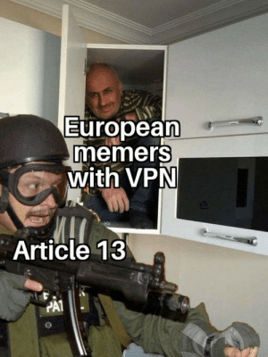 wow really: European  memers  with VPN  Article 13  PAT wow really