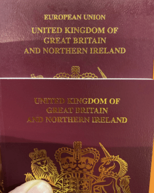 Ireland, Passport, and United: EUROPEAN UNION  UNITED KINGDOM OF  GREAT BRITAIN  AND NORTHERN IRELAND  UNITED KINGDOM OF  GREAT BRITAIN  AND NORTHERN IRELAND I renewed my passport and it no longer has 'European Union' on the cover