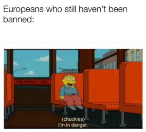 Shit, Been, and Who: Europeans who still haven't been  banned:  0.0  EMERGENCY  (chuckles)  I'm in danger. Oh shit boyos