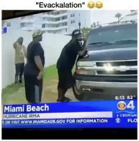 "Memes, Beach, and Hurricane: ""Evackalation""  6:13 82  Miami Beach  HURRICANE IRMA  OR VISIT WWW.MIAMIDADE.GOV FOR INFORMATION FL  04  CBSMiam My guy actually just evackalation 😭😭 make sure if you're not already to follow @genuine.gerald"