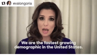 I couldn't have said it better ( well I would have used spicy 🌶 language) I love EVA #respect. #Repost @evalongoria: evalongoria  We are the fastest growing  demographic in the United States. I couldn't have said it better ( well I would have used spicy 🌶 language) I love EVA #respect. #Repost @evalongoria