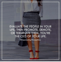 Memes, Terminator, and 🤖: EVALUATE THE PEOPLE IN YOUR  LIFE; THEN PROMOTE, DEMOTE,  OR TERMINATE THEM, YOU'RE  THE CEO OF YOUR LIFE.  #Empowering Women Now You are the CEO of your life. Don't you ever forget that.