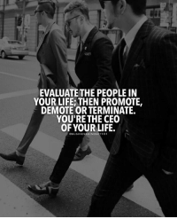 Life, Memes, and 🤖: EVALUATE THE PEOPLE IN  YOUR LIFE; THEN PROMOTE,  DEMOTE OR TERMINATE  YOU'RE THE CEO  OF YOUR LIFE  OBUSINESSMINDSET1O1 You're the CEO of your life. BusinessMindset101 @empiremindset101