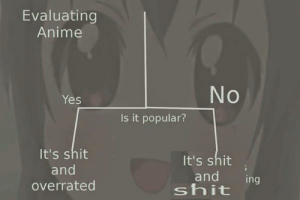 Anime, Shit, and Overrated: Evaluating  Anime  Yes  Is it popular?  It's shit  and  overrated  It's shit  and in  shit