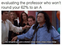 """Memes, Chicken, and Good: evaluating the professor who won't  round your 62% to an A  You not good youust a chicken cheep cheep cheep cheep cheep. <p>The Room memes forecasted to make a short lived but huge comeback. Invest quick and sell even faster! via /r/MemeEconomy <a href=""""http://ift.tt/2AEzhEk"""">http://ift.tt/2AEzhEk</a></p>"""