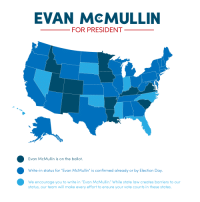 "Click, Tumblr, and Access: EVAN McMULLIN  FOR PRESIDENT  Evan McMullin is on the ballot.  Write-in status for ""Evan McMullin"" is confirmed already or by Election Day.  We encourage you to write in ""Evan McMullin. While state law creates barriers to our  status, our team will make every effort to ensure your vote counts in these states. <p><a href=""http://land-of-maps.tumblr.com/post/151797955125/2016-ballot-access-for-evan-mcmullin-as-of-october"" class=""tumblr_blog"">land-of-maps</a>:</p>  <blockquote><p>2016 Ballot Access for Evan McMullin as of October 11, 2016 [1000 x 1000]<br/><a href=""http://landofmaps.com/"">CLICK HERE FOR MORE MAPS!</a></p></blockquote>"
