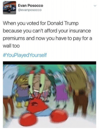 Memes, 🤖, and Insurance: Evan Posocco  @evanposocco  When you voted for Donald Trump  because you can't afford your insurance  premiums and now you have to pay for a  wall too  HYouPlayedyourself Funniest Trump Inauguration Memes: http://abt.cm/2jG04Xk
