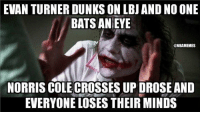 LeBron Dunked On vs. D-Rose Crossed Up! Credit: Lance Rivera: EVAN TURNER DUNKSON LBJ AND NOONE  BATS AN EYE  @NBAMEMES  NORRIS COLECROSSESUP OROSE AND  EVERYONE LOSES THEIR MINDS LeBron Dunked On vs. D-Rose Crossed Up! Credit: Lance Rivera