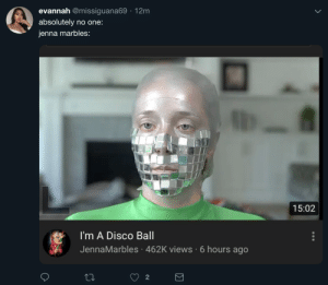 Jenna Marbles, World, and Disco: evannah @missiguana69 12m  absolutely no one:  jenna marbles:  15:02  I'm A Disco Ball  JennaMarbles 462K views 6 hours ago  2 In a World where you can be anything, she decided to become a Disco Ball.