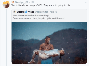 blacktwittercomedy:  Black Twitter Memes: @evelyn_OG · 19h  This is literally exchange of CO2. They are both going to die.  Westnil Prince @alzaidvictor · Aug 10  Not all men come for that one thing!  Some men come to Heal, Repair, Uplift, and Restore! blacktwittercomedy:  Black Twitter Memes