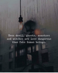 Fake, Devil, and Monsters: Even devil. ghosts. monsters  and witches are less dangerous  than fake human beings.