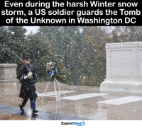 1 word: RESPECT 🙏❤: Even during the harsh Winter snow  storm, a US soldier guards the Tomb  of the Unknown in Washington DC  Talent  Explore 1 word: RESPECT 🙏❤