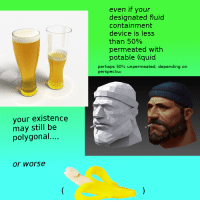"Reddit, Com, and Liquid: even if your  designated fluid  containment  device is less  than 50%  permeated with  potable liquid  perhaps 50% unperm eated, depending on  perspective  your existence  may still be  polygonal...  or worse <p>[<a href=""https://www.reddit.com/r/surrealmemes/comments/8m94m2/perspective/"">Src</a>]</p>"