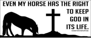 God, Life, and Lmao: EVEN  MY HORSE HAS THE RIGHT  TO KEEP  GOD IN  ITS LIFE.  conaervativestuffcom badacts:  africancheewahwah: theanti90smovement:  what does this even mean   i dont know but im printing it out and giving it to everyone i know  no smart person who has ever met a horse genuinely thinks they believe in god lmao
