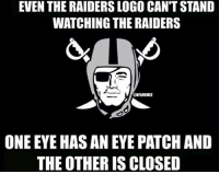 Is the Raiders logo a Raider FAN? Credit: Brayan Castro: EVEN THE RAIDERSLOGO CANTSTAND  WATCHING THE RAIDERS  @NFLMEMEZ  ONE EYE HASANEYE PATCH AND  THE OTHER ISCLOSED Is the Raiders logo a Raider FAN? Credit: Brayan Castro