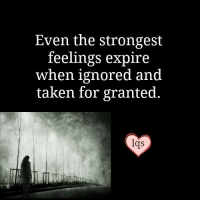 Taken: Even the strongest  feelings expire  when ignored and  taken for granted.  Crs