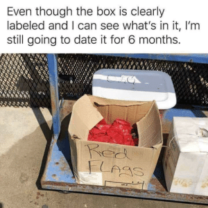 Date, MeIRL, and Box: Even though the box is clearly  labeled and I can see what's in it, I'm  still going to date it for 6 months. meirl