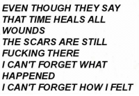 Fucking, Time, and All: EVEN THOUGH THEY SAY  THAT TIME HEALS ALL  WOUNDS  THE SCARS ARE STILL  FUCKING THERE  I CAN'T FORGET WHAT  HAPPENED  I CAN'T FORGET HOWIFELT