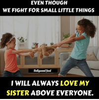Love, Memes, and Fight: EVEN THOUGH  WE FIGHT FOR SMALL LITTLE THINGS  Bollgwood feed  IWILL ALWAYS LOVE MY  SISTER ABOVEEVERYONE.